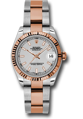 Rolex Watches - Datejust 31mm - Steel and Gold Pink Gold - Fluted Bezel - Oyster - Style No: 178271 sio
