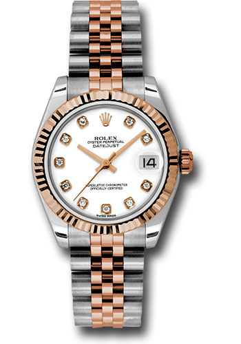 Rolex Watches - Datejust 31mm - Steel and Gold Pink Gold - Fluted Bezel - Jubilee - Style No: 178271 wdj