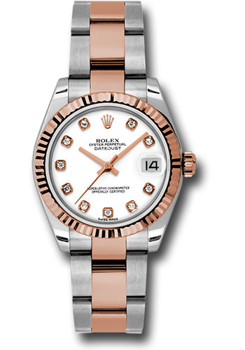 Rolex Watches - Datejust 31mm - Steel and Gold Pink Gold - Fluted Bezel - Oyster - Style No: 178271 wdo