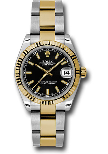 Rolex Watches - Datejust 31mm - Steel and Gold Yellow Gold - Fluted Bezel - Oyster - Style No: 178273 bkio