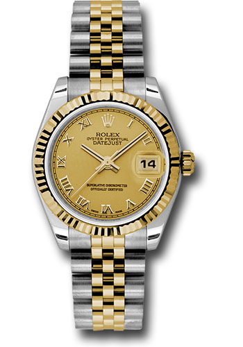 Rolex Watches - Datejust 31mm - Steel and Gold Yellow Gold - Fluted Bezel - Jubilee - Style No: 178273 chrj