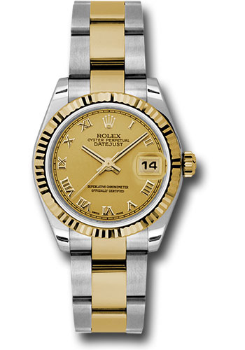 Rolex Watches - Datejust 31mm - Steel and Gold Yellow Gold - Fluted Bezel - Oyster - Style No: 178273 chro