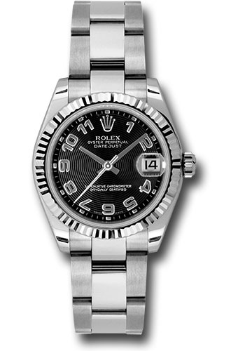 Rolex Watches - Datejust 31mm - Steel Fluted Bezel - Oyster Bracelet - Style No: 178274 bkcao