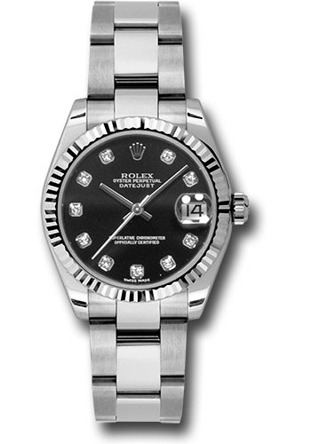 Rolex Watches - Datejust 31mm - Steel Fluted Bezel - Oyster Bracelet - Style No: 178274 bkdo
