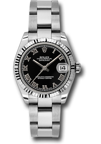 Rolex Watches - Datejust 31mm - Steel Fluted Bezel - Oyster Bracelet - Style No: 178274 bkro