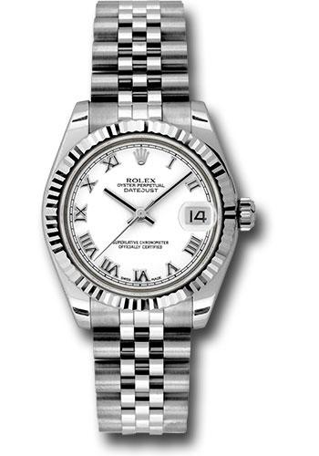 Rolex Steel And White Gold Datejust 31 Watch Fluted Bezel White Roman Dial Jubilee Bracelet 178274 Wrj