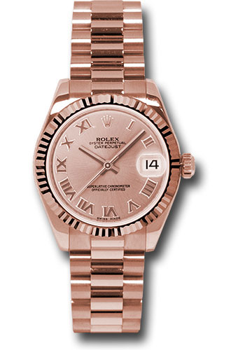 Rolex Watches - Datejust 31mm - Gold President Pink Gold - Fluted Bezel - President - Style No: 178275 prp