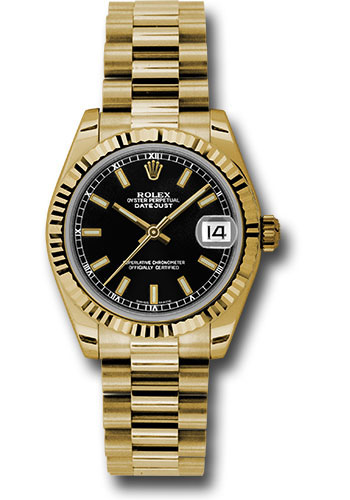 Rolex Watches - Datejust 31mm - Gold President Yellow Gold - Fluted Bezel - Style No: 178278 bkip