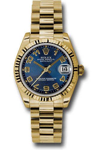 Rolex Watches - Datejust 31mm - Gold President Yellow Gold - Fluted Bezel - Style No: 178278 blcap