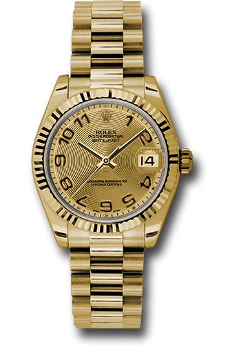 Rolex Watches - Datejust 31mm - Gold President Yellow Gold - Fluted Bezel - Style No: 178278 chcap