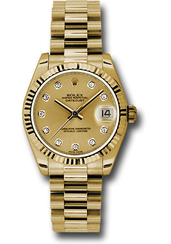 Rolex Watches - Datejust 31mm - Gold President Yellow Gold - Fluted Bezel - Style No: 178278 chdp
