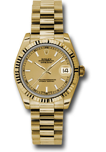 Rolex Watches - Datejust 31mm - Gold President Yellow Gold - Fluted Bezel - Style No: 178278 chip
