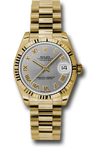 Rolex Watches - Datejust 31mm - Gold President Yellow Gold - Fluted Bezel - Style No: 178278 grp