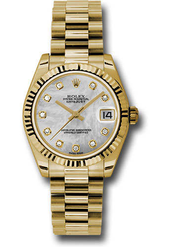 Rolex Watches - Datejust 31mm - Gold President Yellow Gold - Fluted Bezel - Style No: 178278 mdp