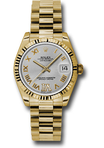 Rolex Watches - Datejust 31mm - Gold President Yellow Gold - Fluted Bezel - Style No: 178278 sdrp