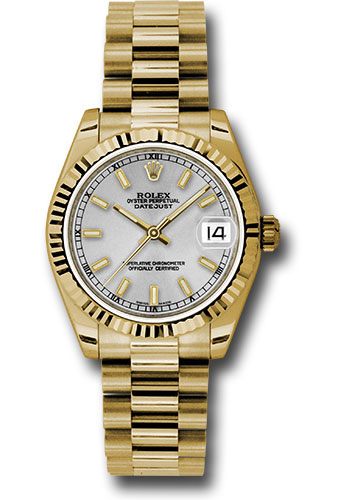 Rolex Watches - Datejust 31mm - Gold President Yellow Gold - Fluted Bezel - Style No: 178278 sip