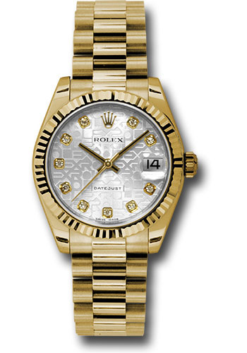 Rolex Watches - Datejust 31mm - Gold President Yellow Gold - Fluted Bezel - Style No: 178278 sjdp