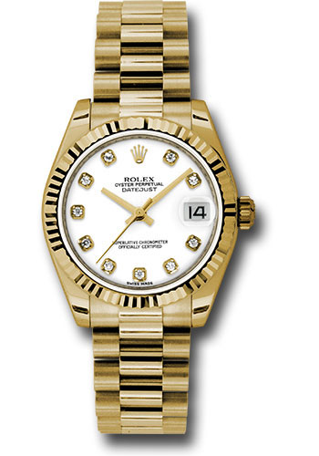 Rolex Watches - Datejust 31mm - Gold President Yellow Gold - Fluted Bezel - Style No: 178278 wdp