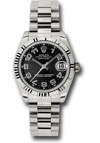 Rolex Watches - Datejust 31mm - Gold President White Gold - Fluted Bezel - Style No: 178279 bkcap