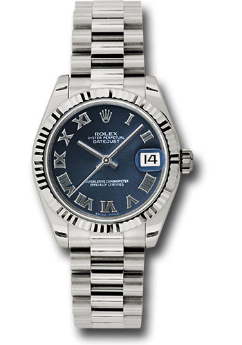 Rolex Watches - Datejust 31mm - Gold President White Gold - Fluted Bezel - Style No: 178279 blrp