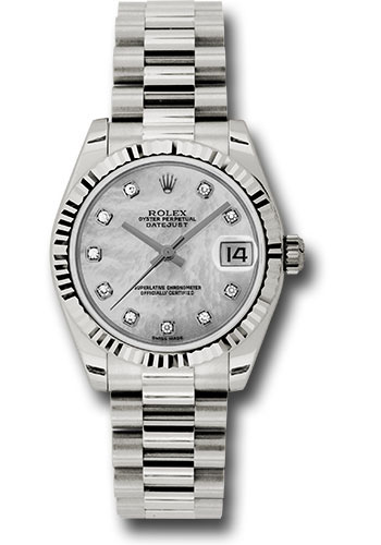 Rolex Watches - Datejust 31mm - Gold President White Gold - Fluted Bezel - Style No: 178279 mdp