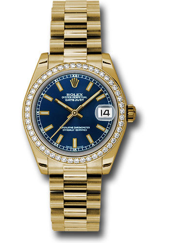 Rolex Watches - Datejust 31mm - Gold President Yellow Gold - Dia Bezel - Style No: 178288 blip