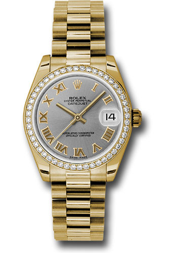 Rolex Watches - Datejust 31mm - Gold President Yellow Gold - Dia Bezel - Style No: 178288 grp