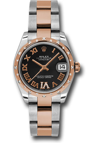 Rolex Watches - Datejust 31mm - Steel and Gold Pink Gold - 24 Dia Bezel - Oyster - Style No: 178341 bkdro