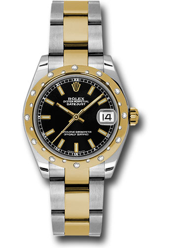 Rolex Watches - Datejust 31mm - Steel and Gold Yellow Gold - 24 Dia Bezel - Oyster - Style No: 178343 bkio