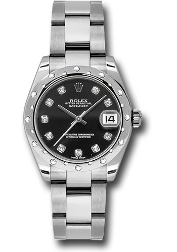 Rolex Watches - Datejust 31mm - Steel 24 Diamond Bezel - Oyster Bracelet - Style No: 178344 bkdo
