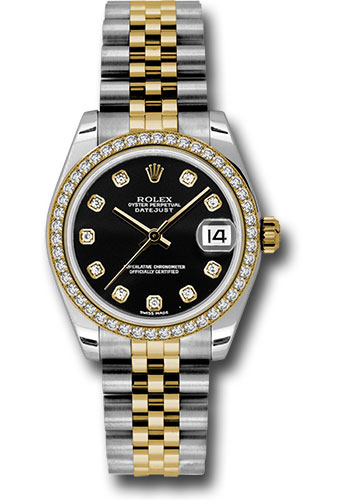 Rolex Watches - Datejust 31mm - Steel and Gold Yellow Gold - 46 Dia Bezel - Jubilee - Style No: 178383 bkdj
