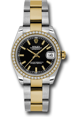 Rolex Watches - Datejust 31mm - Steel and Gold Yellow Gold - 46 Dia Bezel - Oyster - Style No: 178383 bkio