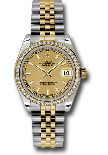 Rolex Watches - Datejust 31mm - Steel and Gold Yellow Gold - 46 Dia Bezel - Jubilee - Style No: 178383 chij