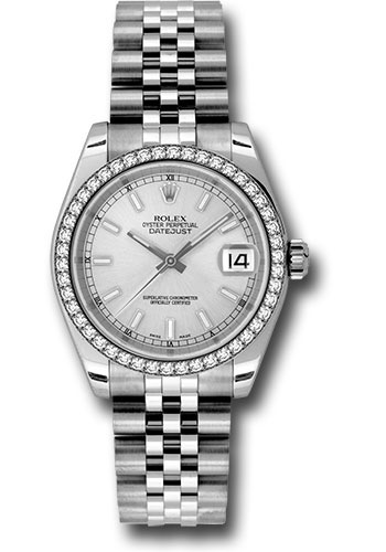 Rolex Watches - Datejust 31mm - Steel 46 Diamond Bezel - Jubilee Bracelet - Style No: 178384 sij