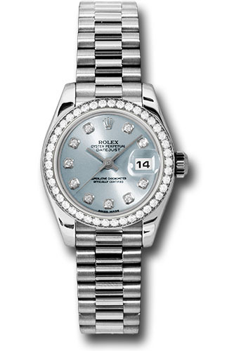 Rolex Platinum Lady Datejust 26 Watch 42 Diamond Bezel Ice Blue Diamond Dial President Bracelet 179136 Ibdp