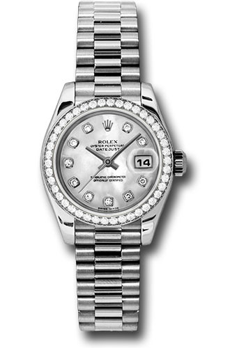 Rolex Watches - Datejust Lady - Platinum President Diamond Bezel - President Bracelet - Style No: 179136 mdp