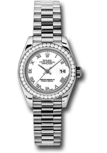 Rolex Watches - Datejust Lady - Platinum President Diamond Bezel - President Bracelet - Style No: 179136 wrp