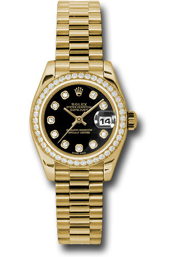 Rolex Watches - Datejust Lady - Gold President Yellow Gold - Dia Bezel - President - Style No: 179138 bkdp