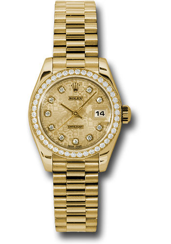 Rolex Watches - Datejust Lady - Gold President Yellow Gold - Dia Bezel - President - Style No: 179138 chjdp