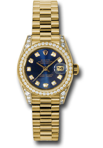 Rolex Watches - Datejust Lady - Gold President Yellow Gold - Dia Bezel - President - Style No: 179158 bldp