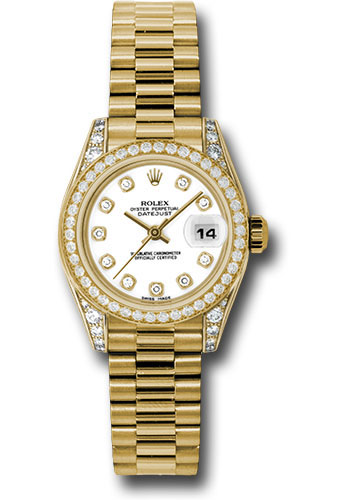 Rolex Watches - Datejust Lady - Gold President Yellow Gold - Dia Bezel - President - Style No: 179158 wdp