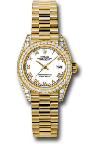 Rolex Watches - Datejust Lady - Gold President Yellow Gold - Dia Bezel - President - Style No: 179158 wrp