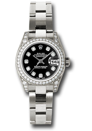 Rolex Watches - Datejust Lady - Gold President White Gold - Dia Bezel - Oyster - Style No: 179159 bkdo