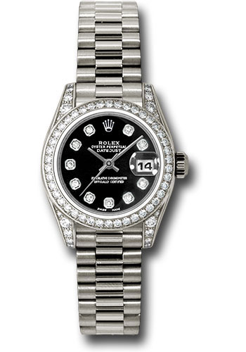 Rolex Watches - Datejust Lady - Gold President White Gold - Dia Bezel - President - Style No: 179159 bkdp