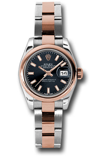 Rolex Watches - Datejust Lady - Steel and Gold Pink Gold - Domed Bezel - Oyster - Style No: 179161 bkso