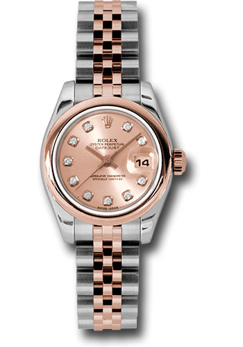 Rolex Watches - Datejust Lady - Steel and Gold Pink Gold - Domed Bezel - Jubilee - Style No: 179161 pdj