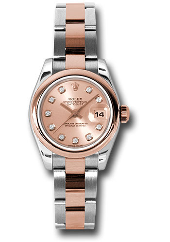Rolex Watches - Datejust Lady - Steel and Gold Pink Gold - Domed Bezel - Oyster - Style No: 179161 pdo