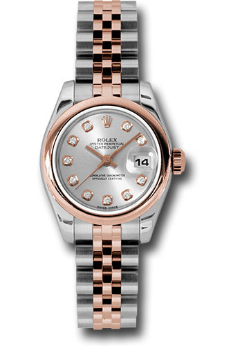 Rolex Watches - Datejust Lady - Steel and Gold Pink Gold - Domed Bezel - Jubilee - Style No: 179161 sdj