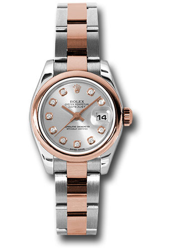 Rolex Watches - Datejust Lady - Steel and Gold Pink Gold - Domed Bezel - Oyster - Style No: 179161 sdo