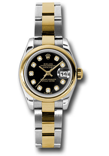 Rolex Watches - Datejust Lady - Steel and Gold Yellow Gold - Domed Bezel - Oyster - Style No: 179163 bkdo
